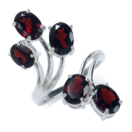 6.41ct. Natural Garnet 925 Sterling Silver Bypass Adjustable Ring