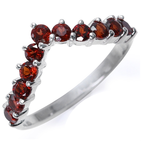 1ct. Natural Garnet 925 Sterling Silver V-Shape Stack/Stackable Ring