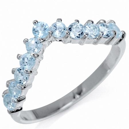 Genuine Blue Topaz 925 Sterling Silver V-Shape Stack/Stackable Ring