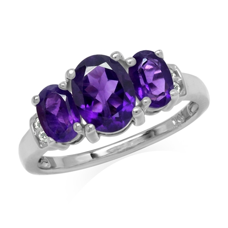 1.97ct. 3-Stone Natural Oval Shape African Amethyst & White Topaz 925 Sterling Silver Ring
