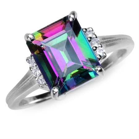 3.93ct. Octagon Shape Mystic Fire Topaz White Gold Plated 925 Sterling Silver Cocktail Ring