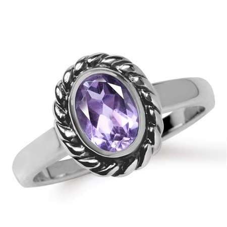 Natural Amethyst 925 Sterling Silver Rope Pattern Solitaire Ring