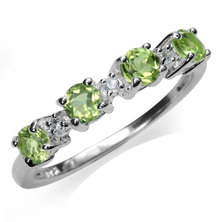 Natural Peridot & Whtie Topaz 925 Sterling Silver Journey Ring