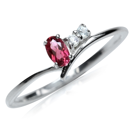 Natural Pink Tourmaline & White Topaz 925 Sterling Silver Ring