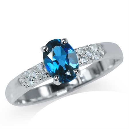 Genuine London Blue & White Topaz 925 Sterling Silver Engagement Ring