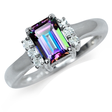1.21ct. Mystic Fire Topaz 925 Sterling Silver Engagement Ring