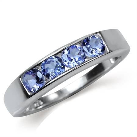 Genuine Tanzanite White Gold Plated 925 Sterling Silver Journey Stack/Stackable Ring