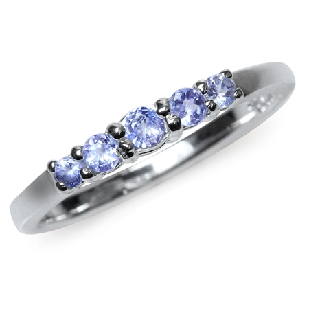 5-Stone Extra Petite Genuine Tanzanite White Gold Plated 925 Sterling Silver Ring