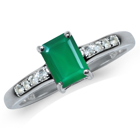 Natural Octagon Shape Emerald Green Agate & White Topaz 925 Sterling Silver Engagement Ring