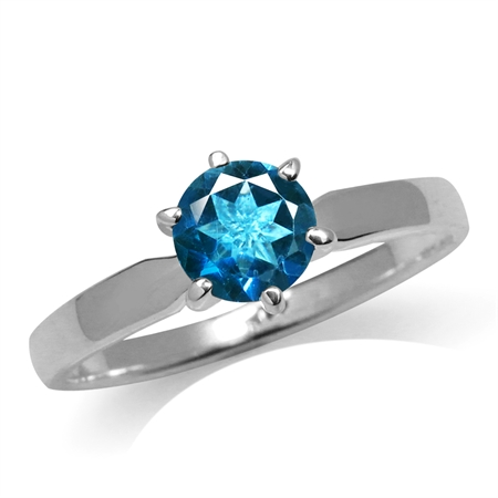 Genuine London Blue Topaz 925 Sterling Silver Solitaire Ring