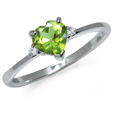 Natural Heart Shape Peridot & White Topaz 925 Sterling Silver Engagement Ring