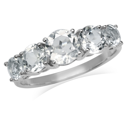 2.87ct. 5-Stone Genuine White Topaz Gold Plated 925 Sterling Silver Ring
