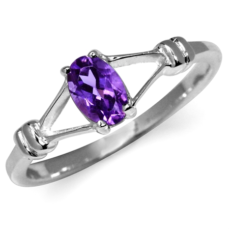 Natural African Amethyst 925 Sterling Silver Solitaire Ring