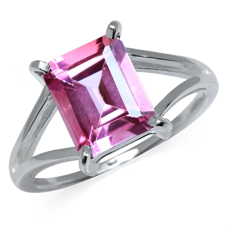 4.01ct. Pink Topaz 925 Sterling Silver Solitaire Ring