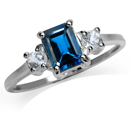1.22ct. Genuine London Blue Topaz 925 Sterling Silver Engagement Ring