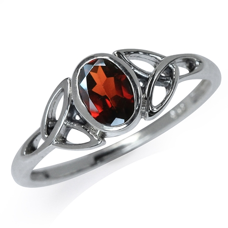 Natural Garnet White Gold Plated 925 Sterling Silver Triquetra Celtic Knot Ring