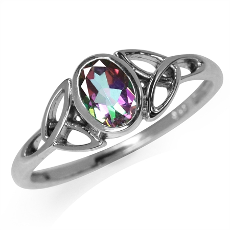 Mystic Fire Topaz White Gold Plated 925 Sterling Silver Triquetra Celtic Knot Ring