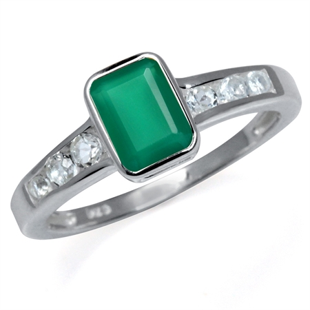 Natural Emerald Green Agate & White Topaz 925 Sterling Silver Engagement Ring