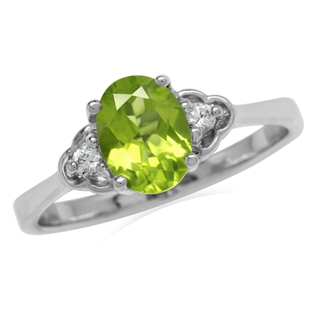 1.37ct. Natural Peridot & White Topaz 925 Sterling Silver Engagement Ring