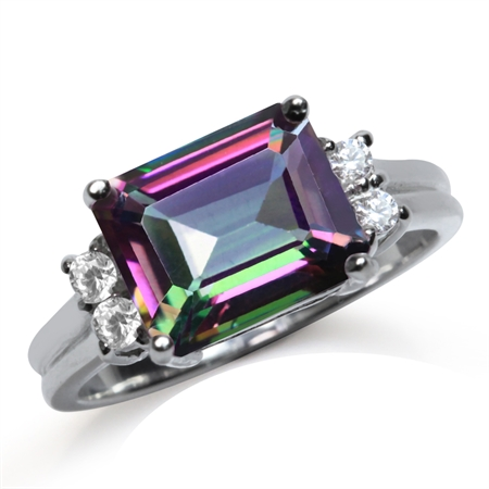 4.02ct. 10x8MM Octagon Shape Mystic Fire Topaz White Gold Plated 925 Sterling Silver Cocktail Ring