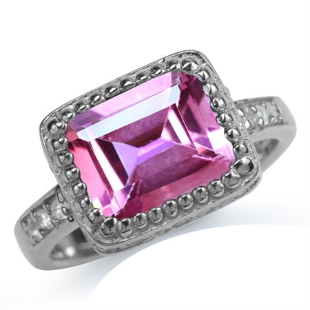4.01ct. Pink & White Topaz Gold Plated 925 Sterling Silver Cocktail Ring