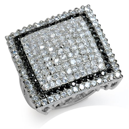 HUGE Black & White CZ Gold Plated 925 Sterling Silver Glamorous Ring