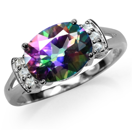 3.37ct. Mystic Fire Topaz White Gold Plated 925 Sterling Silver Cocktail Ring