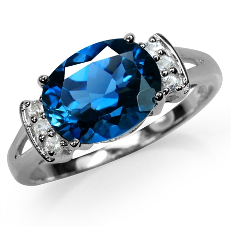 2.95ct. Genuine London Blue & White Topaz 925 Sterling Silver Cocktail Ring