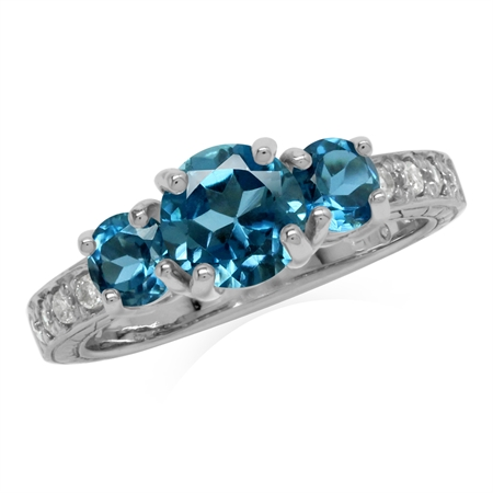 1.56ct. 3-Stone Genuine London Blue & White Topaz 925 Sterling Silver Ring