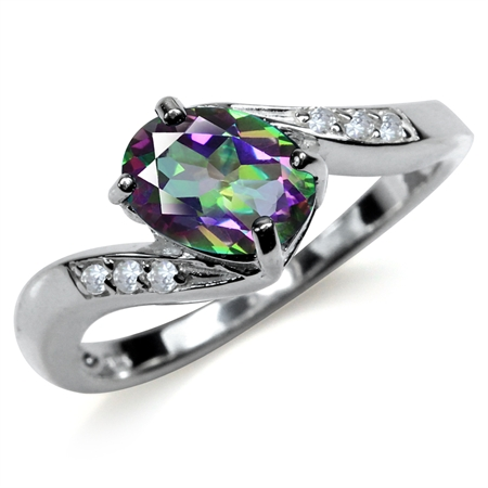1.49ct. Mystic Fire Topaz 925 Sterling Silver Engagement Ring