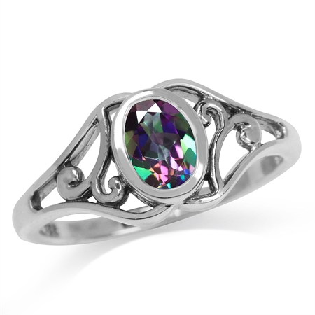 Mystic Fire Topaz 925 Sterling Silver Filigree Solitaire Ring