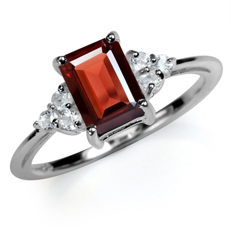2ct. 8x6MM Natural Octagon Shape Garnet & White Topaz 925 Sterling Silver Engagement Ring