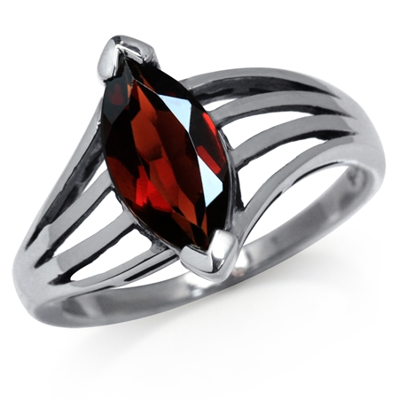 1.85ct. Natural January Birthstone Garnet 925 Silver Solitaire Ring