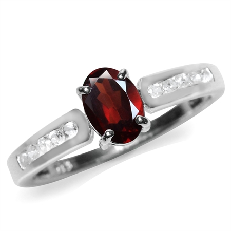 Natural Garnet & White Topaz Gold Plated 925 Sterling Silver Engagement/Clearance Ring