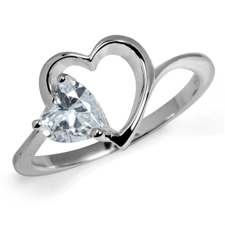 Heart Shape White CZ 925 Sterling Silver Solitaire Ring