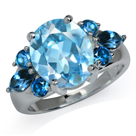 5.8ct. Genuine Blue & London Blue Topaz 925 Sterling Silver Cocktail Ring