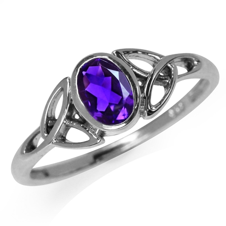 Natural African Amethyst White Gold Plated 925 Sterling Silver Triquetra Celtic Knot Ring