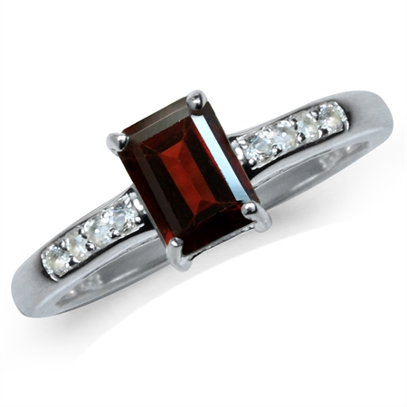1.26ct. Natural Octagon Shape Garnet & White Topaz 925 Sterling Silver Engagement Ring