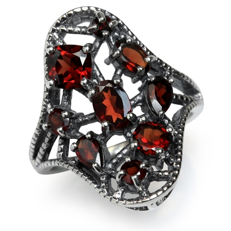 2.13ct. Natural Garnet 925 Sterling Silver Filigree Ring