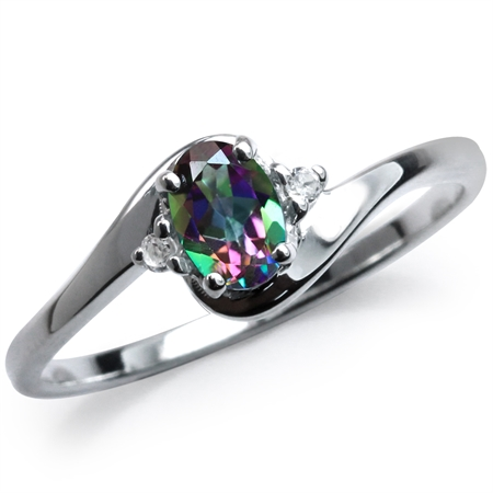 Mystic & White Topaz 925 Sterling Silver Engagement Ring