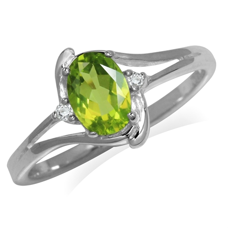 7x5MM Natural Oval Shape Peridot & White Topaz 925 Sterling Silver Engagement Ring