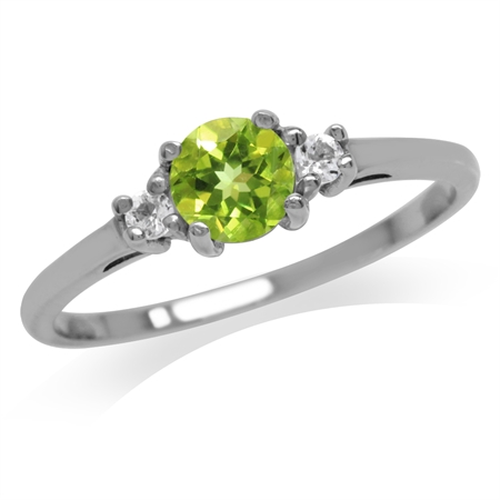 Petite Natural Peridot & White Topaz 925 Sterling Silver Promise Ring