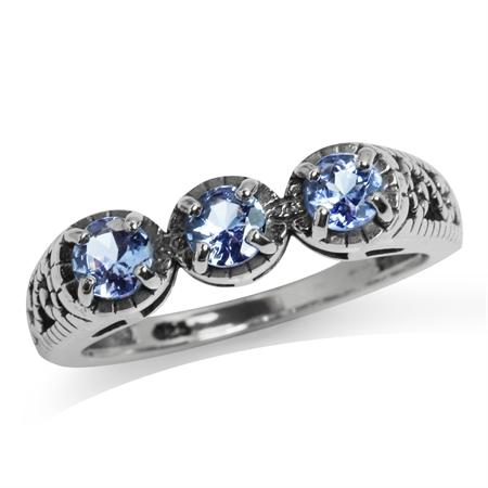 3-Stone Genuine Tanzanite Sterling Silver Victorian Style Filigree Ring