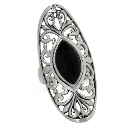 Created Black Onyx 925 Sterling Silver Victorian Style Filigree Ring