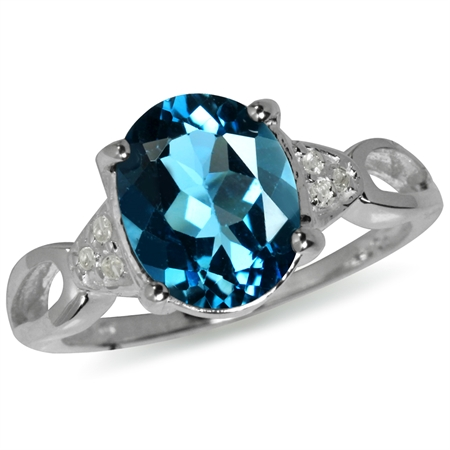 3.11ct. 10x8MM Oval Genuine London Blue & White Topaz 925 Silver Ring