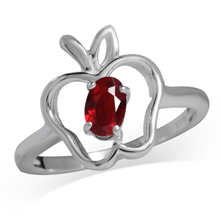 Ruby Red CZ 925 Sterling Silver Apple Solitaire Ring