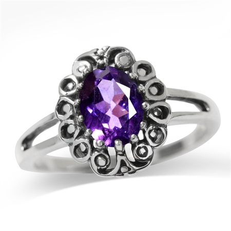 1.13ct. Natural African Amethyst 925 Sterling Silver Filigree Ring