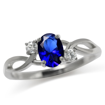 Sapphire Blue & White CZ 925 Sterling Silver Engagement Ring