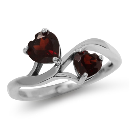 1.43ct. Natural Heart Shape Garnet White Gold Plated 925 Sterling Silver Ring