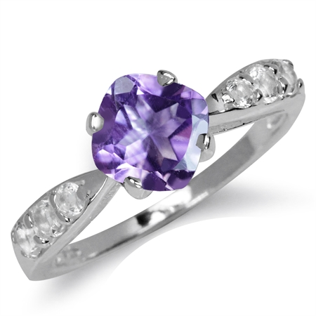 1.33ct. 7MM Natural Cushion Shape Amethyst & White Topaz 925 Sterling Silver Engagement Ring